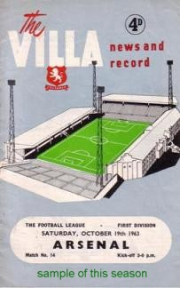 Image for Programmes - Aston Villa 1963-64 Season