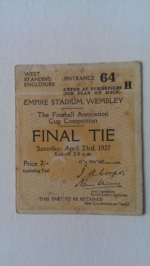 Image for Ticket Stub for the 1927 F. A. Cup Final Arsenal V Cardiff