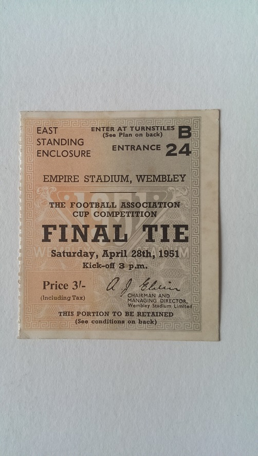 Image for Ticket Stub for the 1951 F. A. Cup Final Blackpool V Newcastle