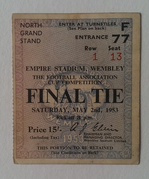 Image for Ticket Stub for the 1953 F. A. Cup Final Blackpool V Bolton