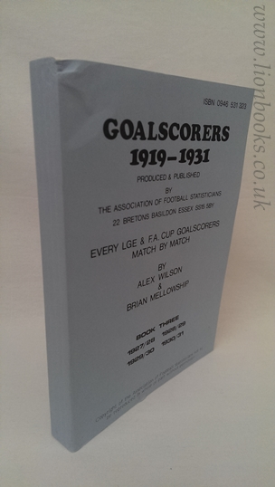 Image for Goalscorers 1919-1931: Book 3