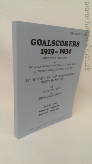 Image for Goalscorers 1919-1931: Book 1