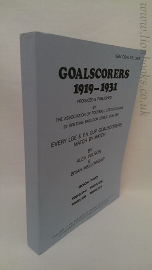 Image for Goalscorers 1919-1931: Book 2